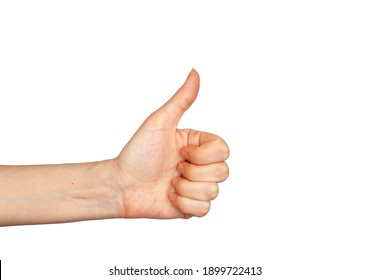 Hand gesture - thumbs up, isolated on a white background. The female palm points to something that is empty for your design.
