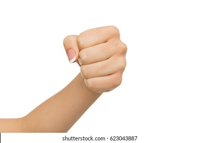Hand gesture. Woman clenched fist, ready to punch, isolated on white, close-up, copy space