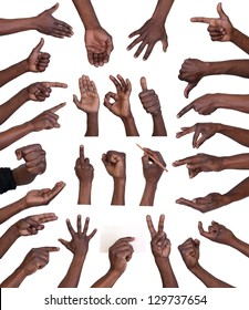 Hand gestures collection  isolated on white background