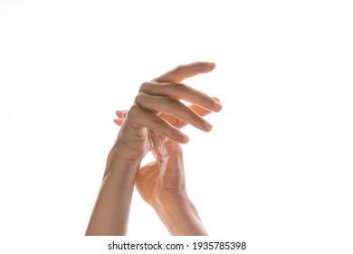 Hand gestures. Elegant female hands reach up, isolated on white,