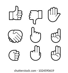 hand gestures. line icons set. Flat style  icons, emblem, symbol For Your Design