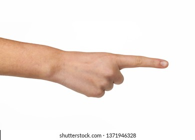 Hand gestures - man hand pointing on virtual object with forefinger, isolated on white background