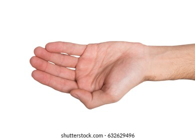 Hand gestures. Person keep palm opened, outstretched with begging or offering, isolated white background, top view