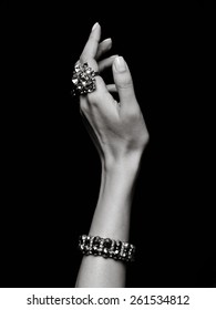 Hand gestures. Hand with rings. Hand bracelet. Bangle. Fingers with rings. Armlet. Arm