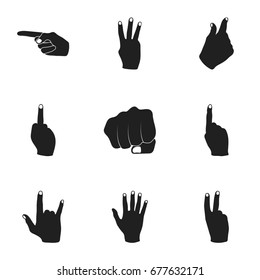 Hand gestures set icons in black style. Big collection of hand gestures bitmap, raster symbol stock illustration