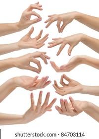 Hand gestures set, ?n white background