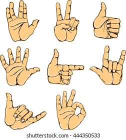Hand gestures and sign language icon set. Isolated colorful illustration of human hands. Colorful hands collection-accuracy sketching of hand gestures