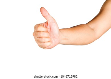 Hand gesture,Thumbs up for admiration.