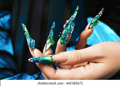 Hand of the girl. Female manicure. Long colored acrylic nails.