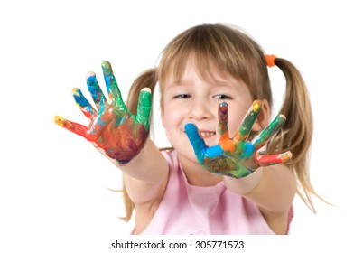 hand girl in multi-colored paint