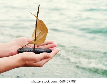 Hand of the girl start up a small decorative sailboat in the sea. Conceptual image of tourism, travel, holiday, freedom