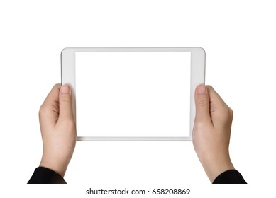 Hand girl using tablet isolated white background