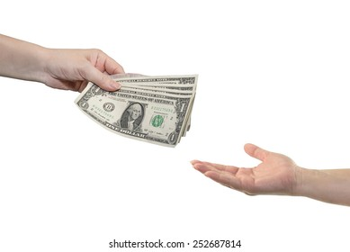 Hand give money dollars on white background