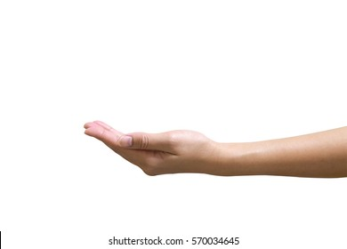 Hand gives isolated on white background with clipping path.