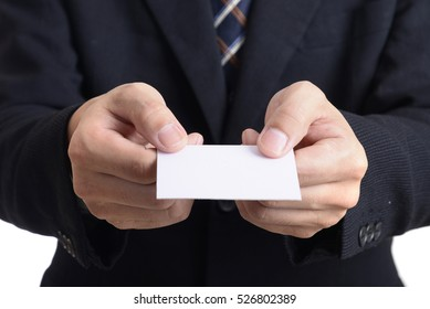 Hand giving blank business name card form salesman