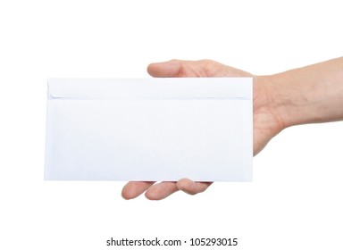 hand giving a blank envelope isolated on white background