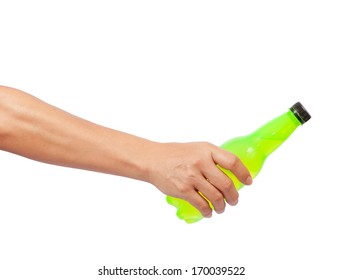 hand giving bottle isolated on white