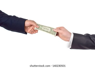 hand giving dollar, isolated image