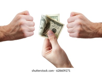 The hand giving money. Bribe and corruption with dollar banknotes. On a white background