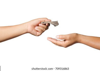 hand giving money cash on white background