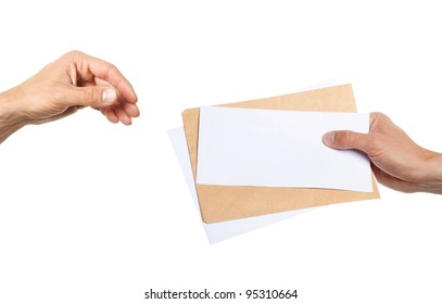 hand giving someone a lot of letters isolated on white background