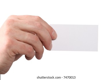 Hand giving a visiting card, Holds check, Isolated
