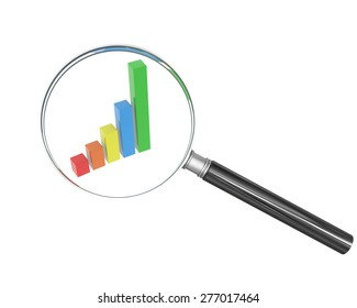 Hand glass with graphical chart on isolated white background
