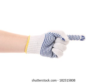 Hand in glove point with finger. Isolated on a white background.