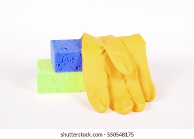 Hand in glove with sponge isolated on white background.