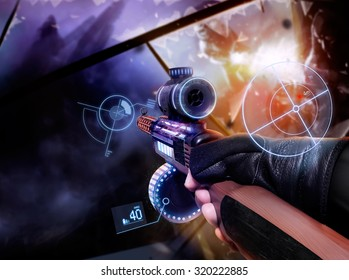 Hand in gloves holding machine-gun. First person view hand in black leather gloves holding a futuristic neon fantasy automatic machinegun with neon indicators and pointers.