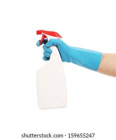 Hand in gloves holds spray bottle. Isolated on a white background.
