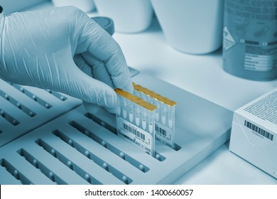 Hand with gloves taking biological samples in biosciences laboratory