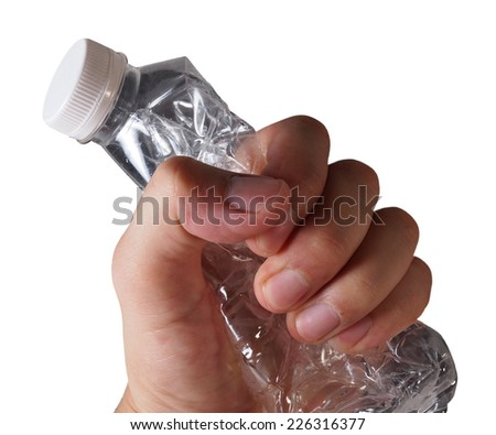 Hand Grab Used Plastic Bottle Isolated Stock Photo (Edit Now