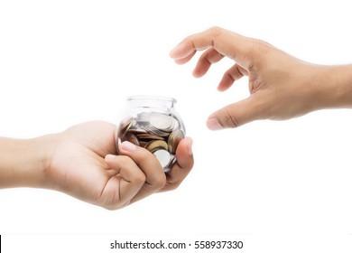 Hand grabbing money glass bottles, isolate on white background