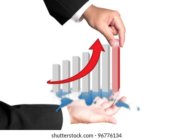 Hand and graph of success business company