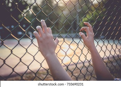 hand grasping a wire fence in the park.
