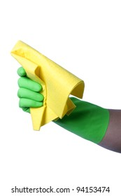 Hand with green glove holding cleaning napkin; isolated on white