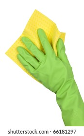 Hand in green glove with yellow sponge isolated on white background
