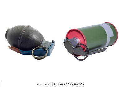 Hand Grenade and Smoke grenade isolated on white background.
