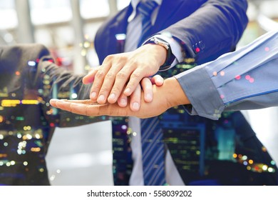 Hand group Teamwork Join Hands Partnership Third party, Business clasping hand Concept, Double exposure image.
