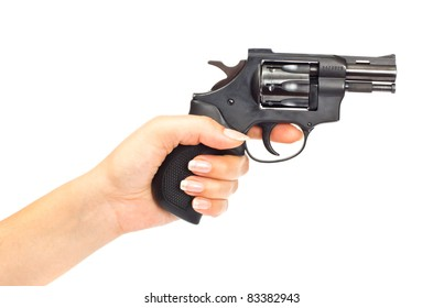 Hand with gun isolated over a white background