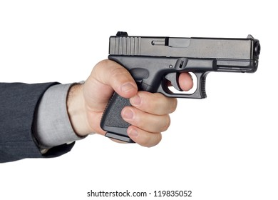 Hand with gun on white background