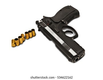 hand gun pistole with ammo photomanipulation on a white background