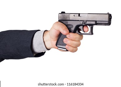 Hand with gun ready to shoot