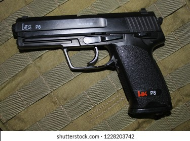 Hand gun USP P8 is used for airsoft games (Moscow, Russia) - November 13, 2018