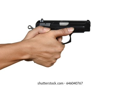 a hand with handgun lefty thumb forward style Isolated on white background, most favorite pistol gripping style