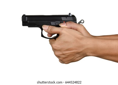 a hand with handgun right thumb forward style Isolated on white background, most favorite pistol gripping style