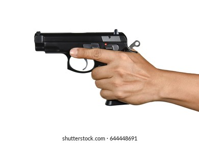 a hand with handgun single left hand resting finger Isolated on white background