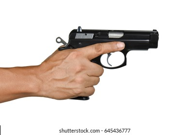 a hand with handgun single right hand resting finger Isolated on white background