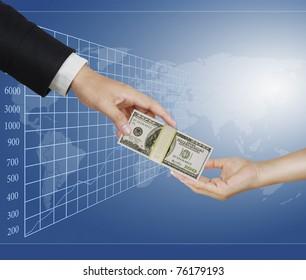 Hand handing over money